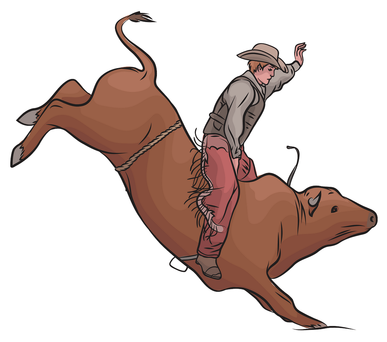 Cowboy Riding a Bull clipart. Free download..