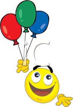 Smiley Holding a Bunch of Balloons.