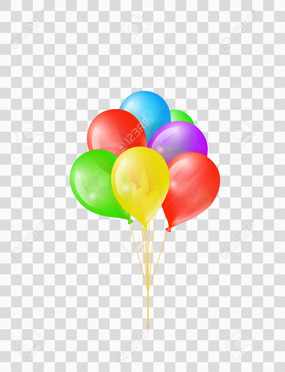 Bunch of colored transparent balloons on chequered background.