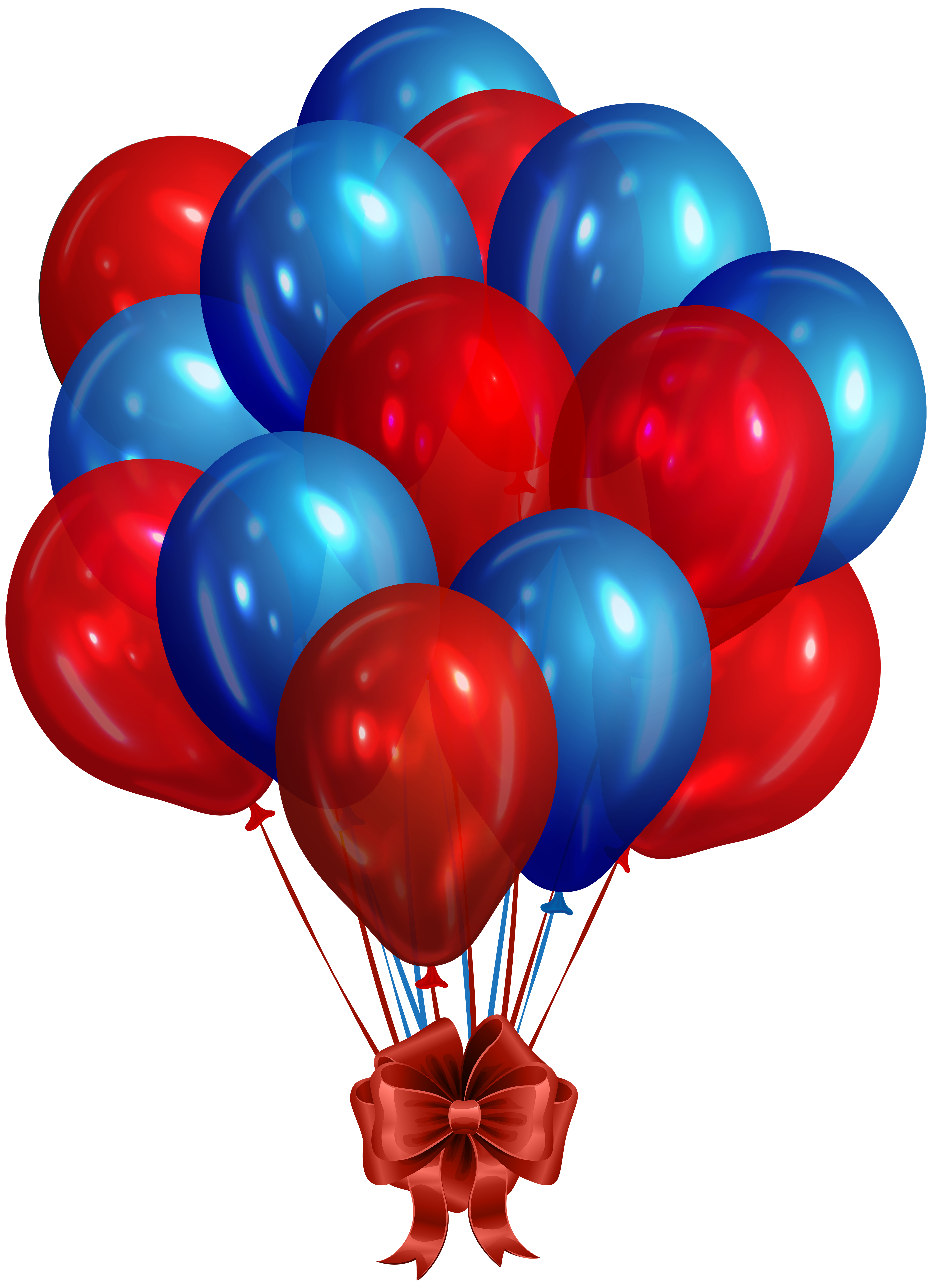 Blue Red Bunch of Balloons Clip Art PNG Image.
