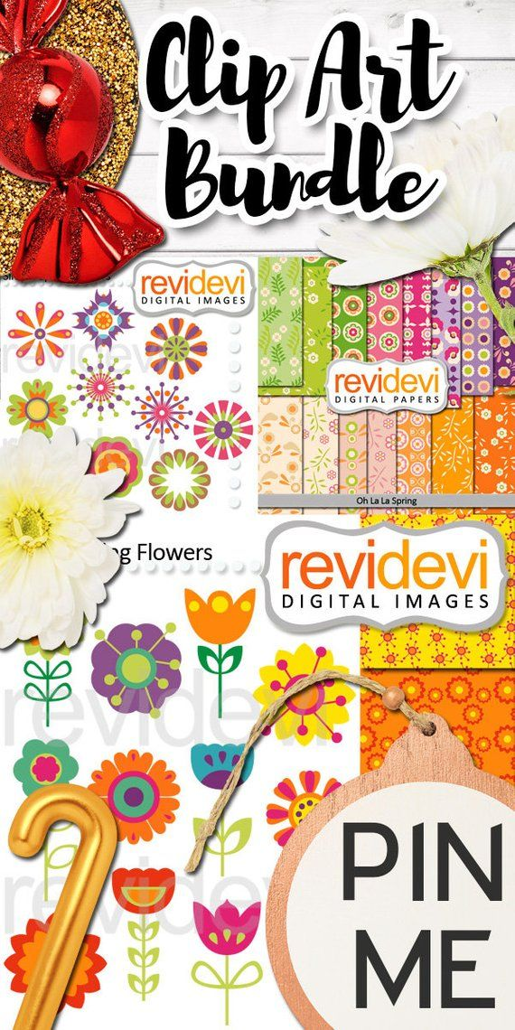 Spring flowers clip art and digital papers bundle, commercial use.