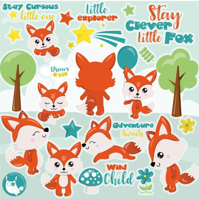 Woodland fox clipart.
