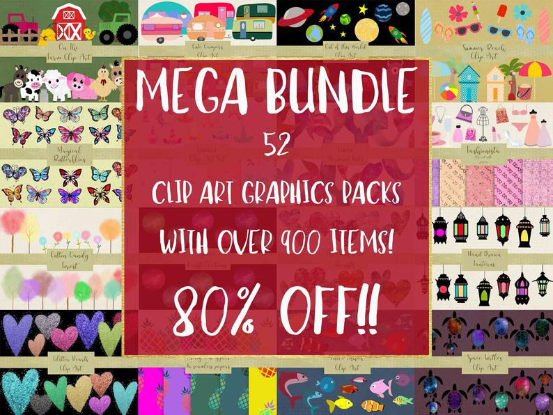 MEGA Bundle of Clip Art Elements, 52 Packs bundles into 1 listing, 905  Graphics with commercial Use, High Resolution PNG Files..
