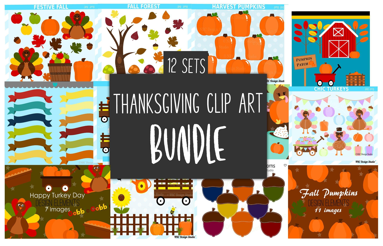 Thanksgiving Clipart Bundles, Clip Art Pumpkins, Fall, Turkey.