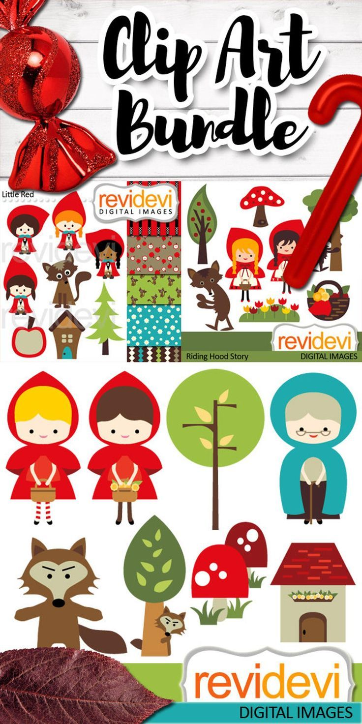 Little Red RIding Hood clipart, digital papers, commercial use.