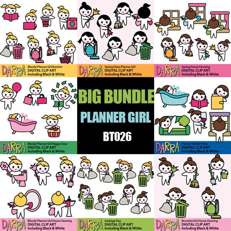 Chore Clip Art, Planner stickers graphics commercial use.