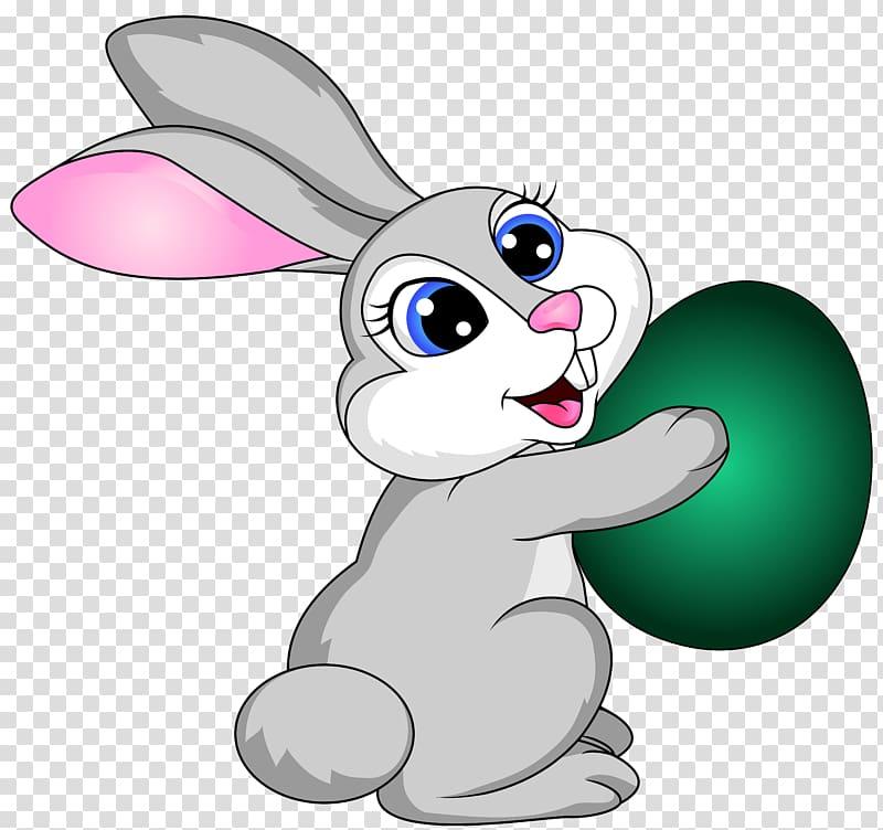 Gray rabbit holding green egg , Easter Bunny Easter egg , Easter.