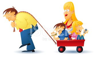 Burden of Family Stock Vector.