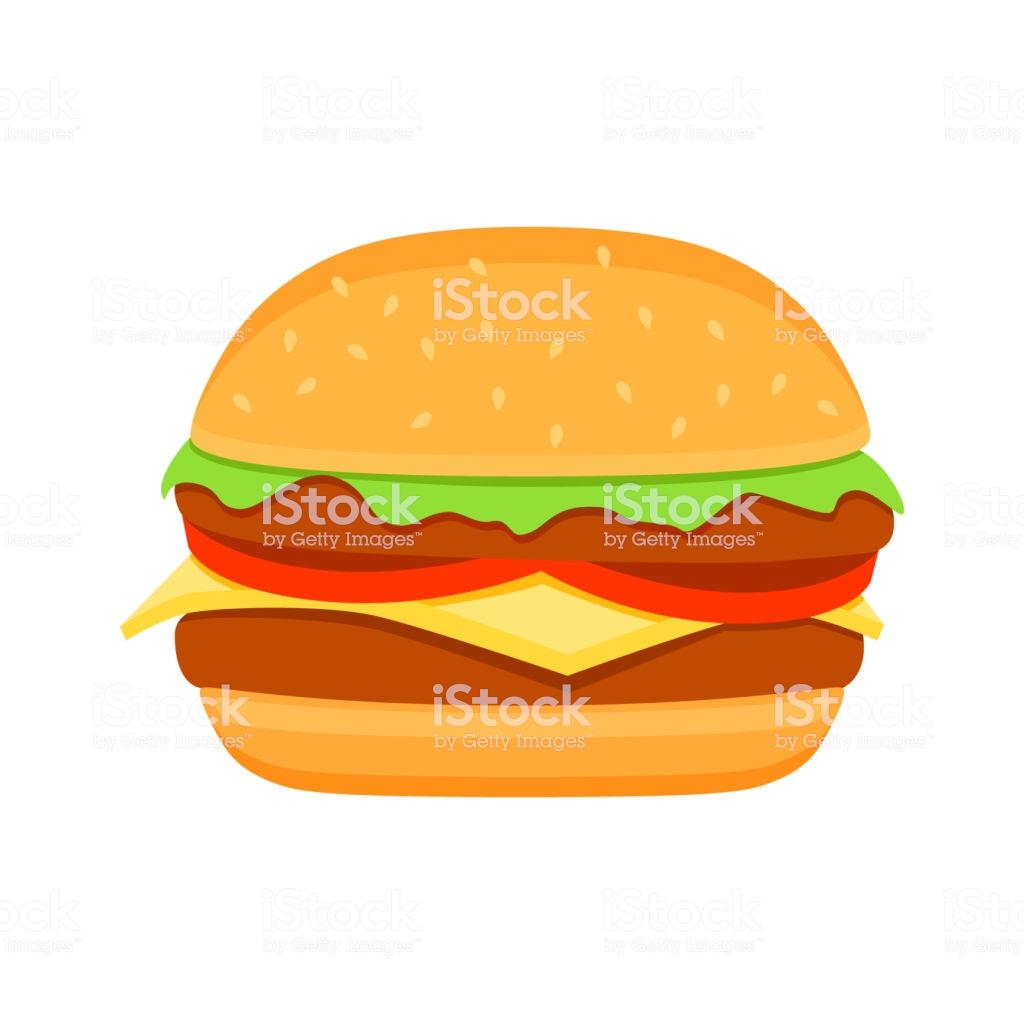 Burger Colorful Vector Cartoon Fast Food Burger Vector Clipart Icon.