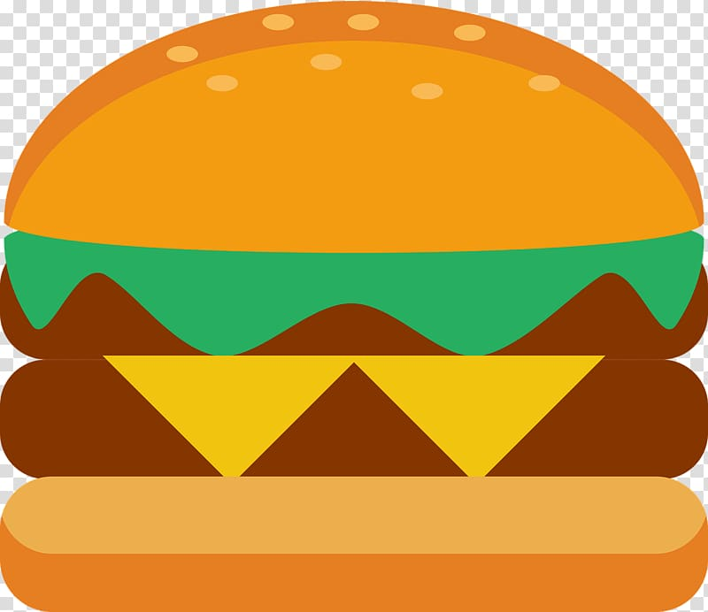 Hamburger Bread Cheese, Double beef burger transparent background.