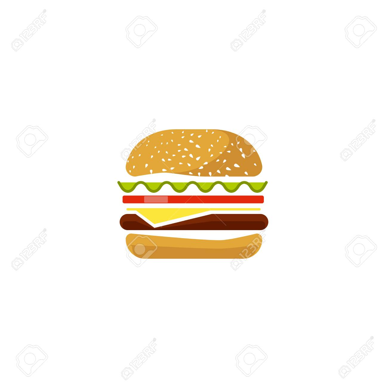 Burger vector icon isolated on white background, flat cartoon...