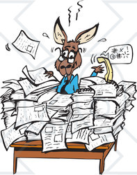 Clipart Illustration of a Busy Kangaroo Office Worker Buried In.