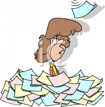 Cartoon of a Secretary Buried Under Paperwork.