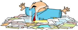 Colorful Cartoon of a Man Buried In Paperwork.