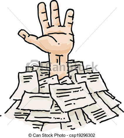 Vector Clipart of Buried in Paperwork.
