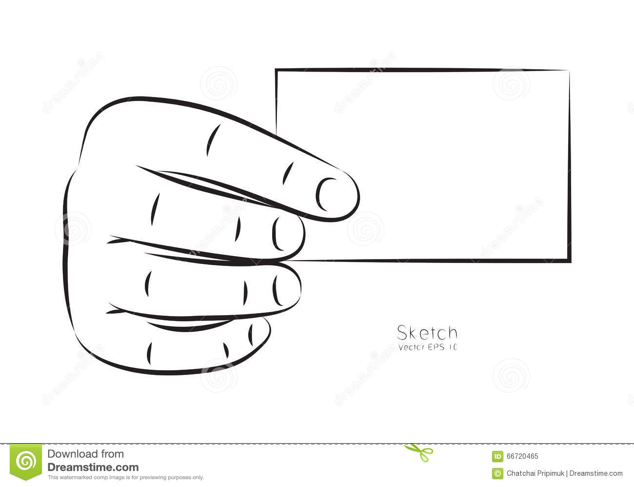 Draw Hand And Business Card, Vector Stock Vector.