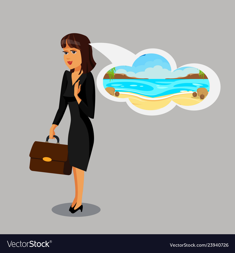 Businesswoman dreaming about vacation clipart.