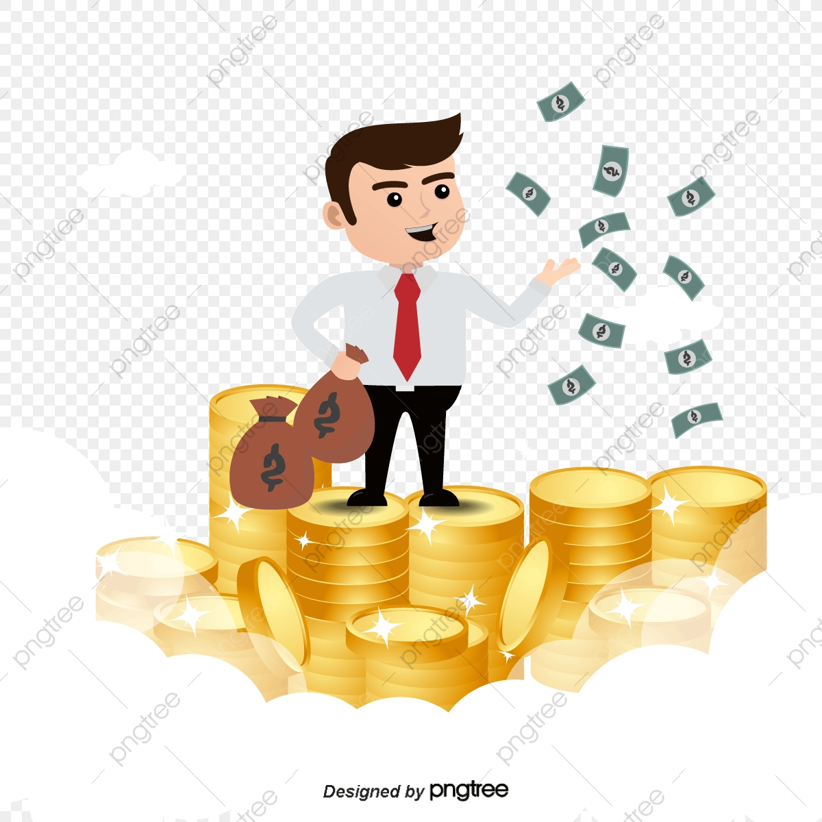 Happy Businessman With Money Vector, Businessman Clipart, Money.