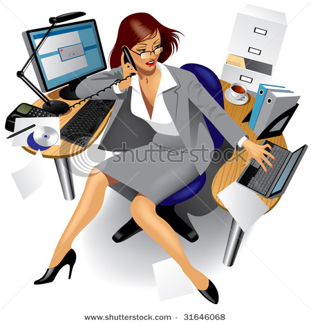 Very Busy Girl In Office Clipart.