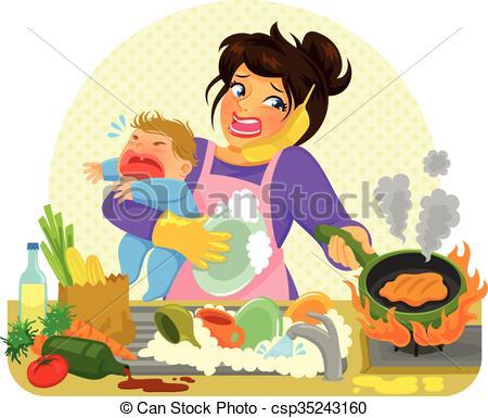 Clip Art Vector of busy mom.