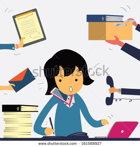 Showing post & media for Cartoon busy office worker woman.