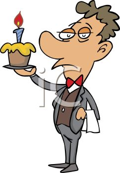 Cartoon of a Butler Holding a Birthday Cupcake.