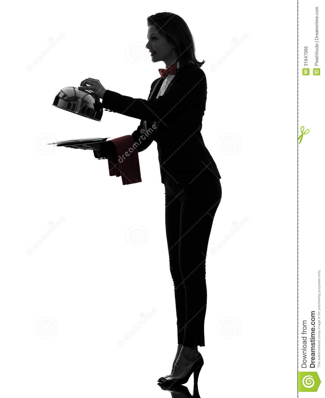 Woman waiter butler opening.