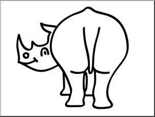 Clip Art: Basic Words: Butt B&W Unlabeled I abcteach.com.