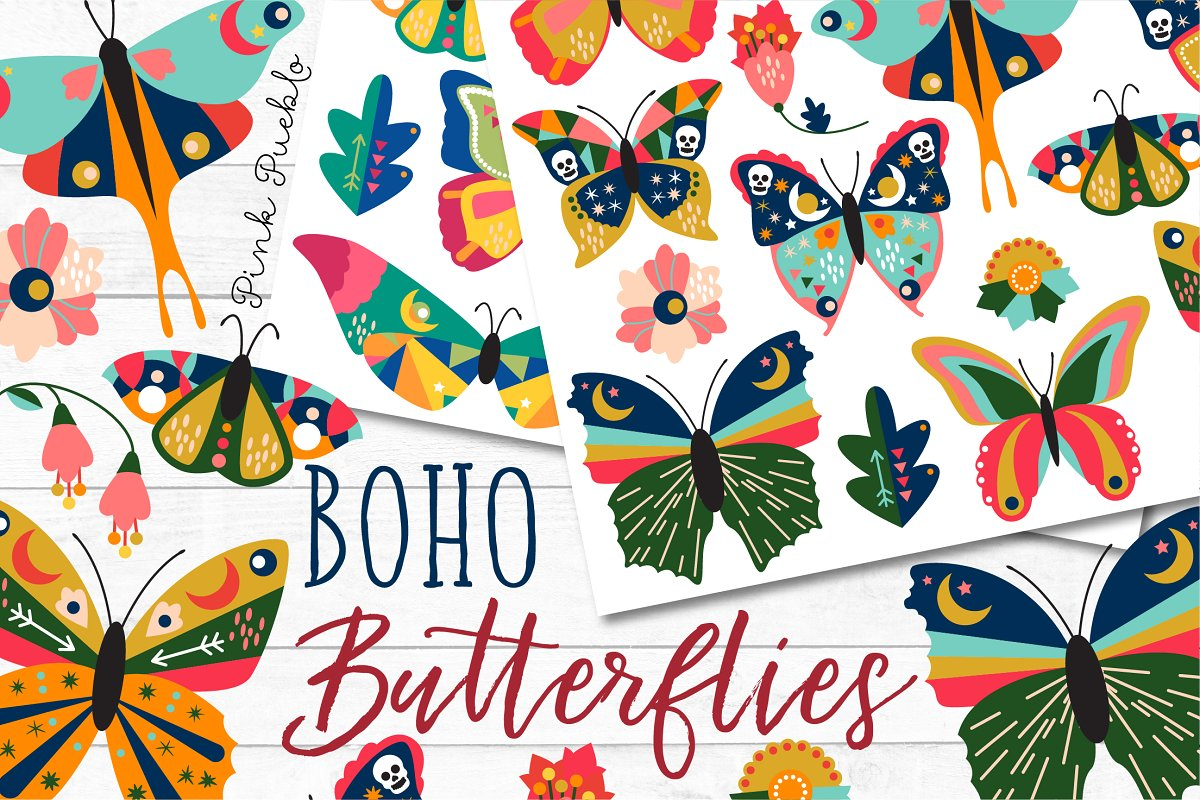Boho Butterfly Clipart and Vectors.
