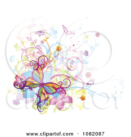 Clipart Colorful Butterflies Swirls Vines And Flowers With Grunge.