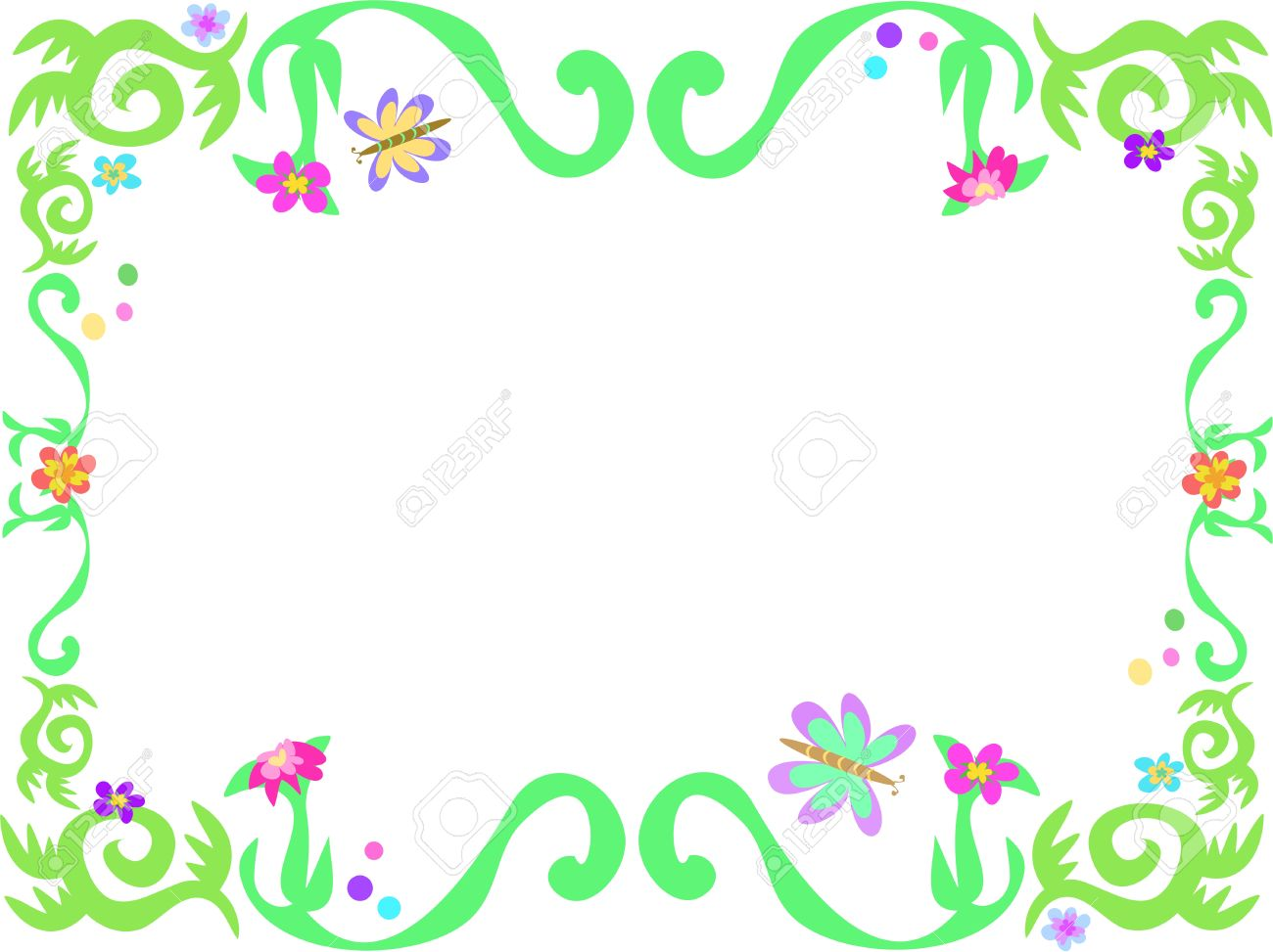 Frame Of Green Vines And Butterflies Royalty Free Cliparts.