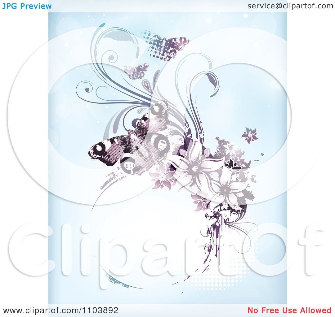 Clipart Blue Background With Purple Butterflies Vines And A Grungy.