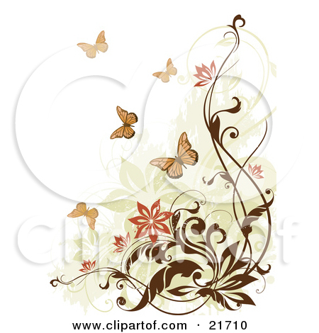 Nature Clipart Picture Illustration of Flying Monarch Butterflies.