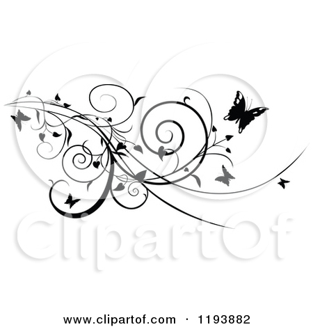 Butterfly On Vine Clipart.