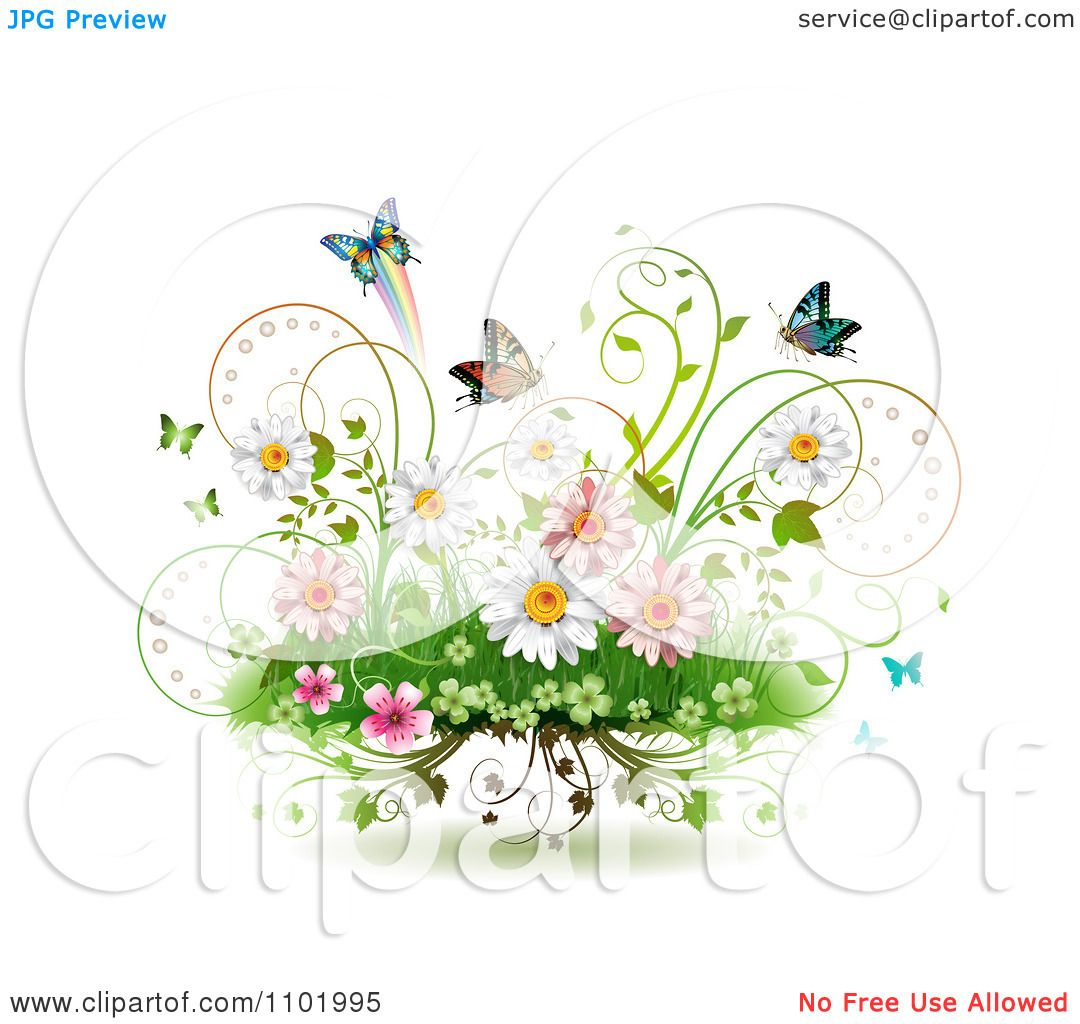 Clipart Spring Flowers Vines And Butterflies On White.