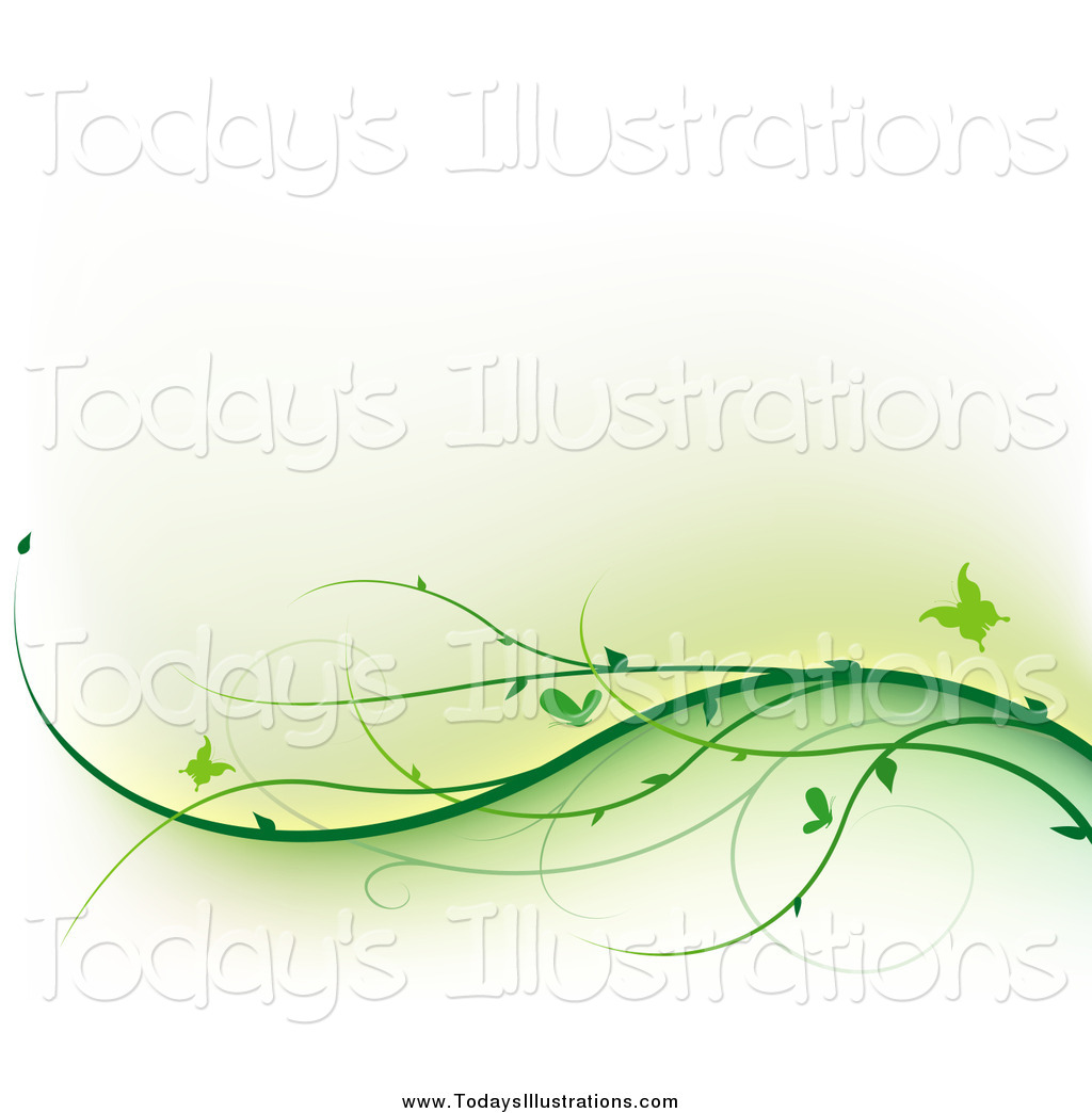 Clipart of Butterflies Flying over Waves of Green Vines by dero.