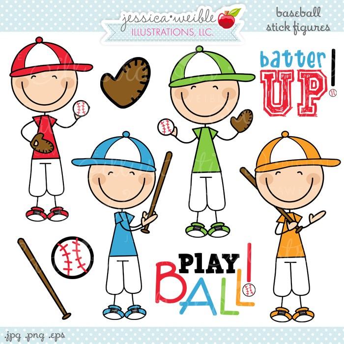 Baseball Stick Figures Clipart.