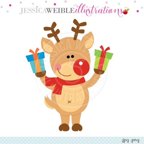 Reindeer with Gifts Digital Clipart.