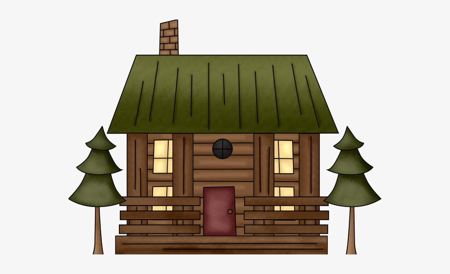 Ski Lodge Clipart Simple Log Cabin.