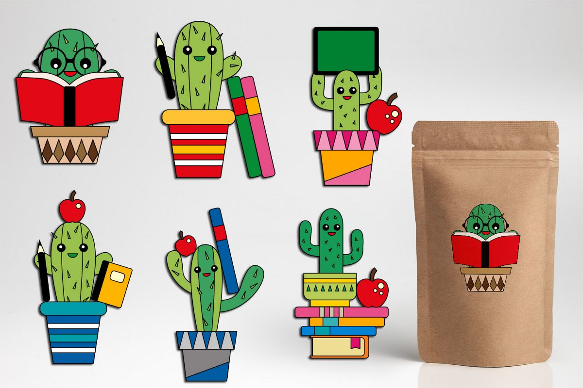 Back to school cactus clipart, cacti graphic design.