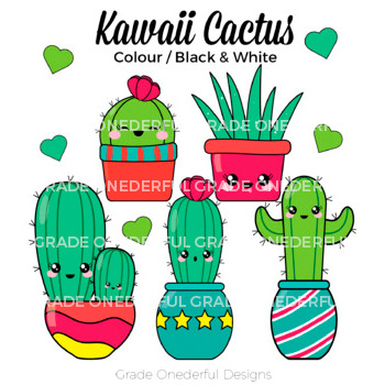 Kawaii Cactus Clipart CU Okay by Grade Onederful.