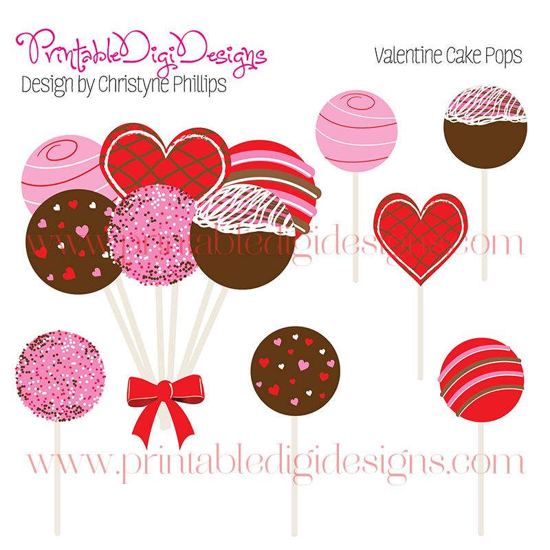Valentines Day Cake Pop Bouquet Clipart Graphics Set.