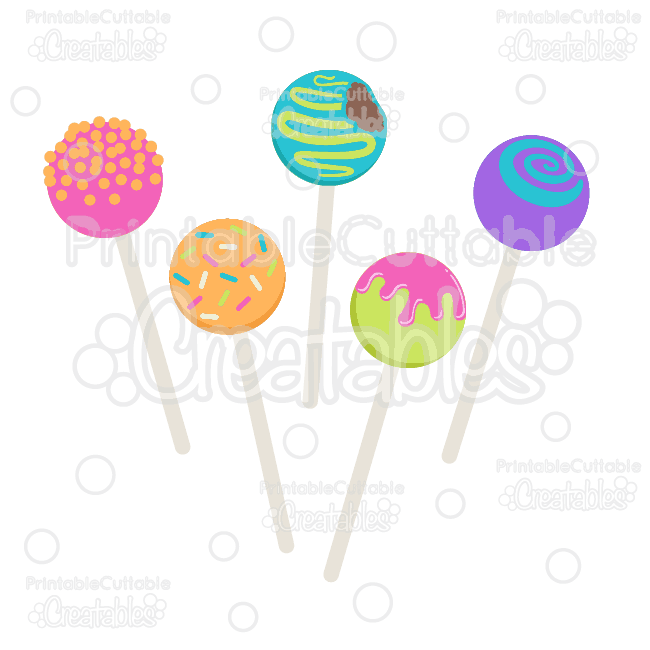 Birthday Cake Pops SVG Cut Files & Clipart.