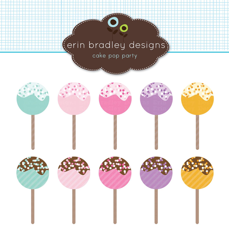 Cake Pop Clipart, Clip Art, Dessert Clipart Graphics, Food Clip.