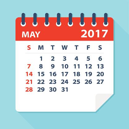Calendar clipart may 2017, Calendar may 2017 Transparent.