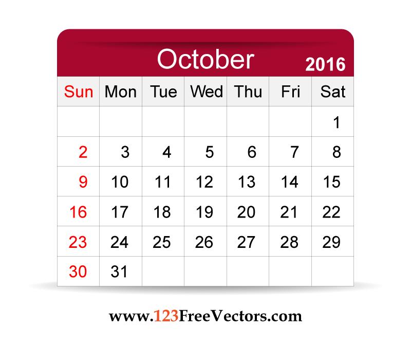 Calendar clipart for october.