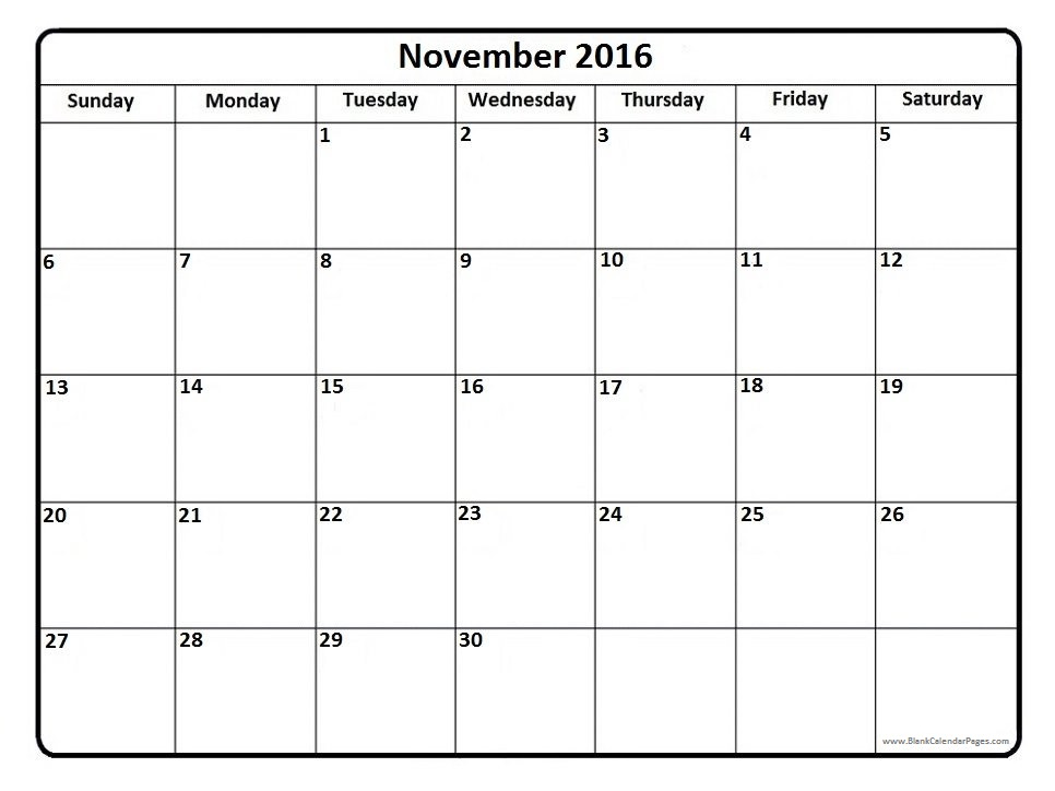 november 2016 calendar.