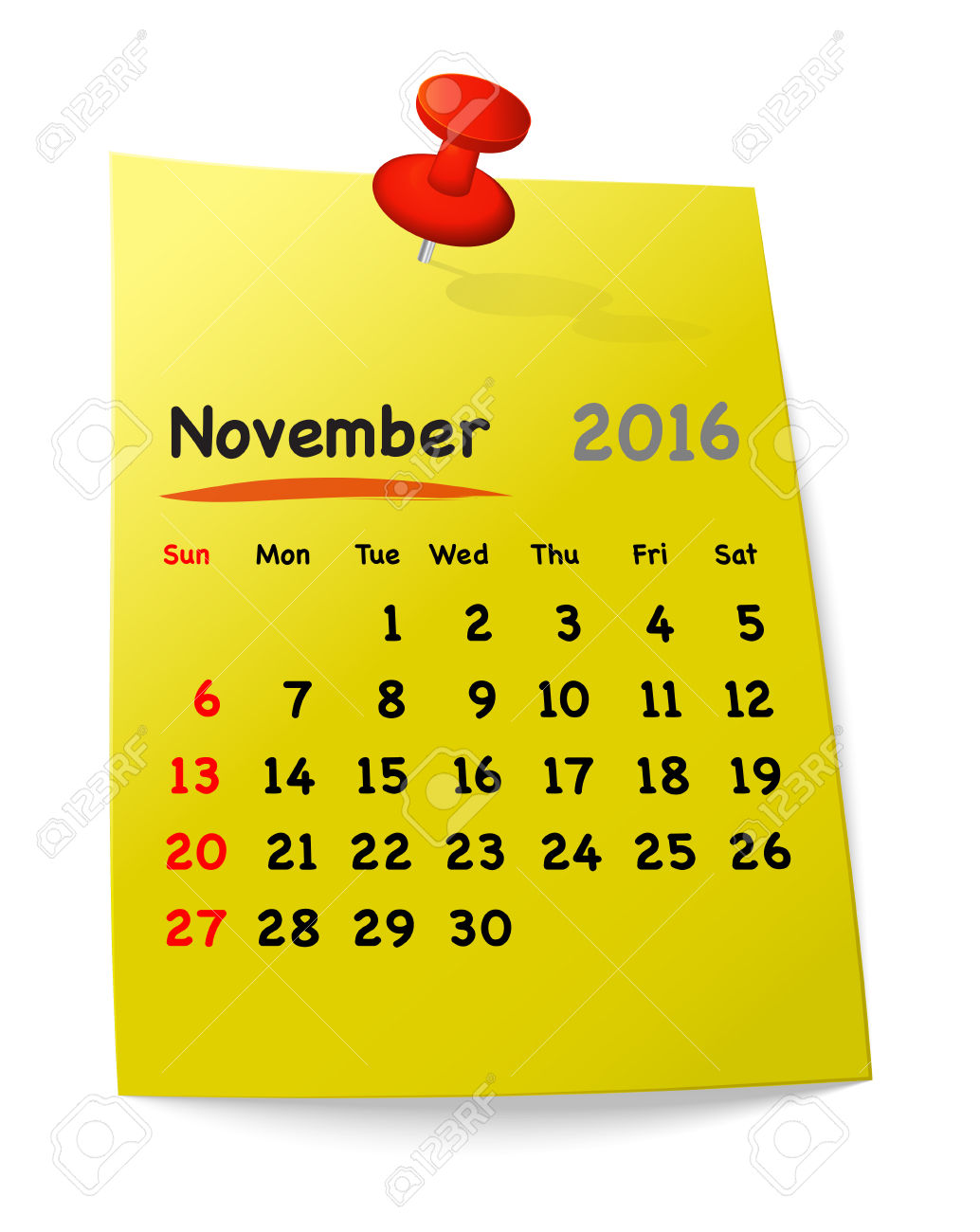 Calendar For November 2016 On Yellow Sticky Note Attached With.