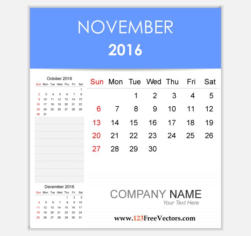 Editable Calendar November 2016.