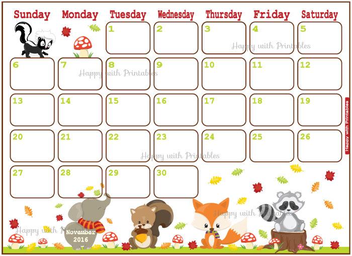 Printable Calendar November 2016.